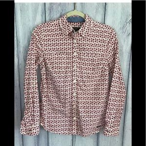 Talbots Red Apples Button up Shirt 4 Petite